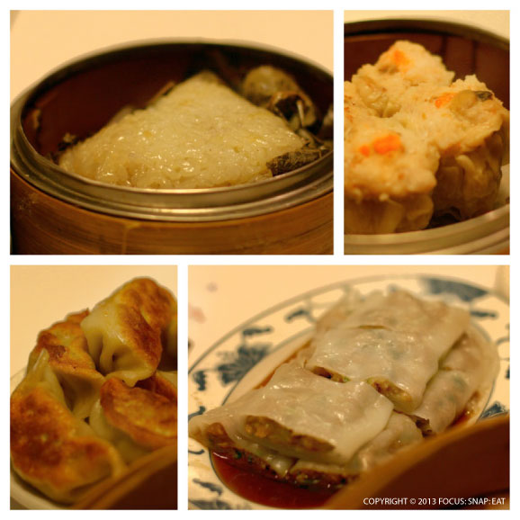 From top left: Lo mai gai, siu mai, rice noodles with beef, and pot stickers