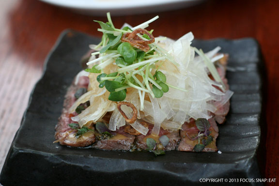 My favorite dish of Kobe beef tataki ($12), seared wagyu beef with onion salad and yuzukosho miso sauce