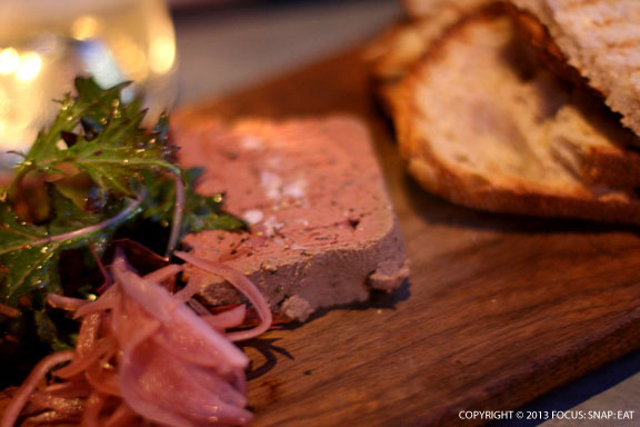 Mary's Chicken and Duck Liver Pate with Pickled Red Onion, Spicy Greens and Toast ($11)