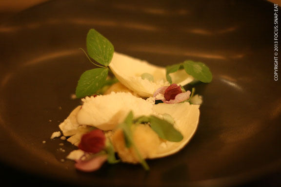 "Main dessert course was this pea white chocolate ""salad"""