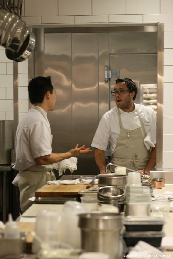 Chef Christopher Kostow, right, working in the kitchen.