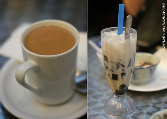 HK milk tea (left), which was nicely mixed with rich body, and a grass jelly ice (right).