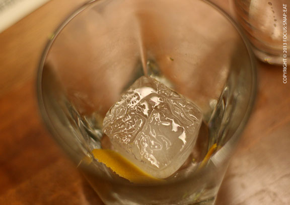 I love this shot of Christina's drink with all empty but the large ice cube still there
