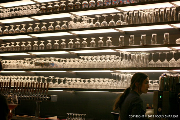 The impressive stemware section with mirrored wall really makes a statement. I would hate to have to dust this.