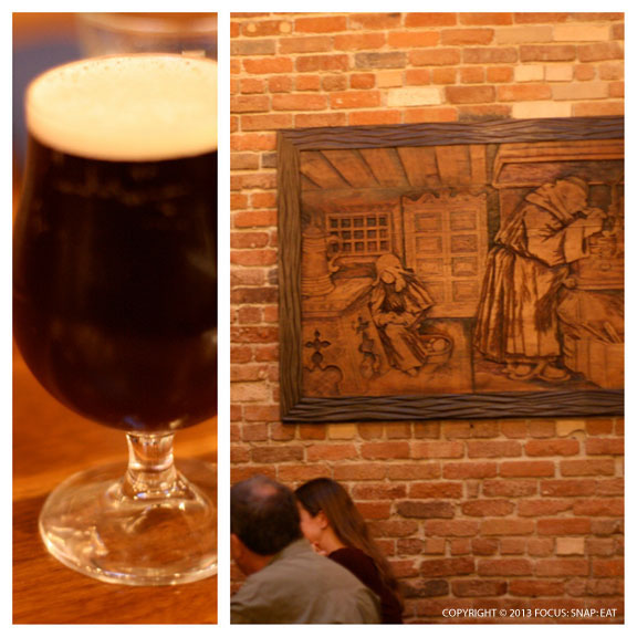 My Charles Brown amber-brown beer had a chocolate undertone, and it matched the general wood-dominant decor at Abbot's Cellar.