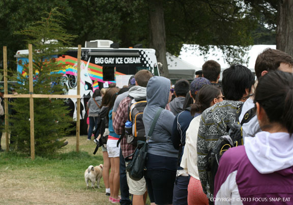At the end of the long line to the Big Gay Ice Cream Truck at Golden Gate Park on Saturday. Waited for 45-55 minutes, but it was worth it!