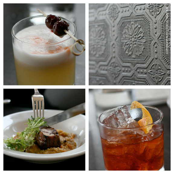 """I tried the """"broken & sour"""" ($10), top left, because it reminded me of a pisco sour, but this is made with bourbon, lemon, egg white and simple syrup. Christina went with the classic """"old fashioned,"""" bottom right."""