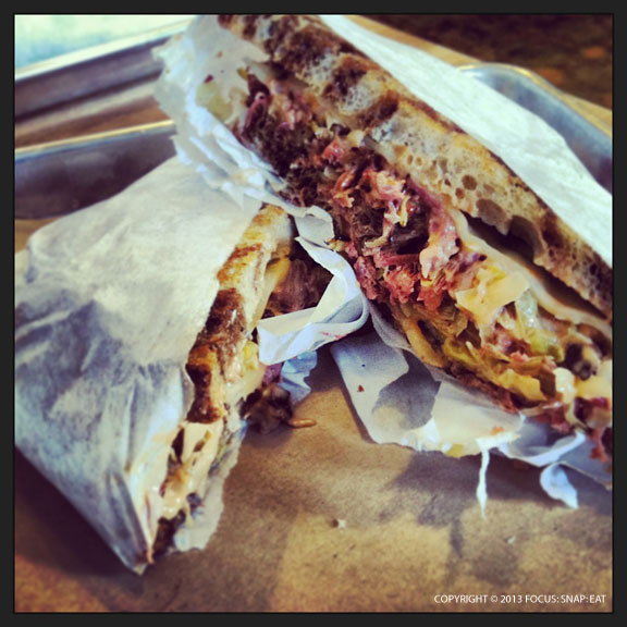 Reuben sandwich had lots of meat in the grilled sandwich with cheese and dressing, ($12)
