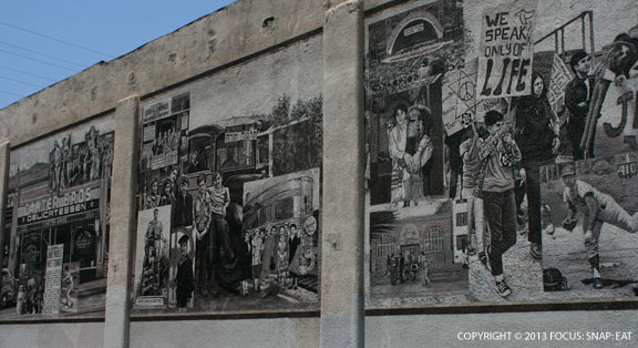 A mural facing the parking lot gives a glimpse at Canter's more than 75 year history in LA