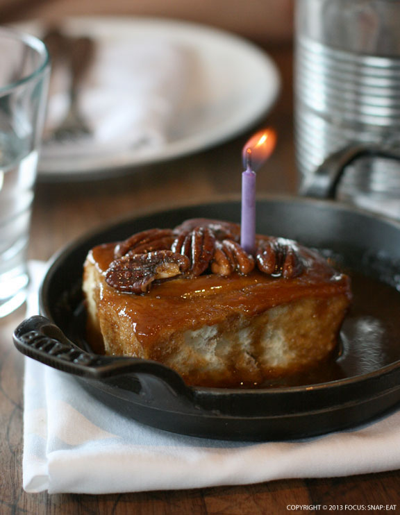 We were celebrating my nephew Chris' birthday and the kitchen sent out this complimentary sticky bun with a candle. The bun itself was so airy and tasty.