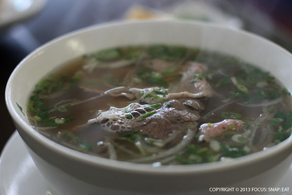 Pho tai or beef rice noodle soup with rare eye of round steak ($7.50, small)