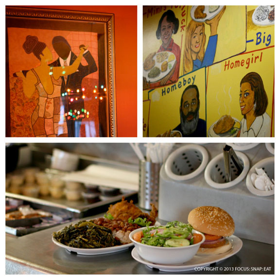 Home of Chicken and Waffles had a diner feel with a colorful mural with dishes named after family members