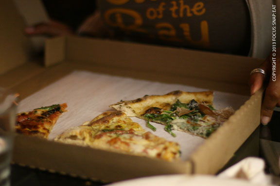 We had so much pizza at Forge, some people actually took some leftovers home.