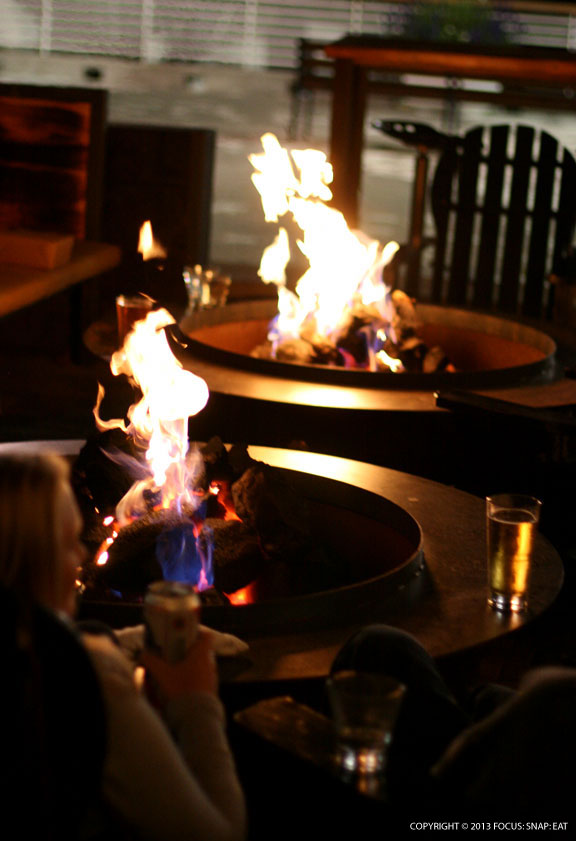 Fire pits so you can cuddle up with your pizza on the patio at night