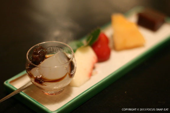 Dessert was a fresh fruit tray and a summertime warabimochi with red beans or azuki paste.