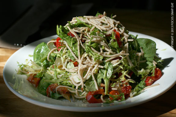buckwheat noodle salad ($6.50 half) with baby spinach, frisee, cherry tomatoes, and lime sesame dressing