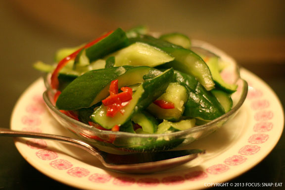My Mom likes to start lunch with these crunchy pickled cucumbers, made more Shanghai style.