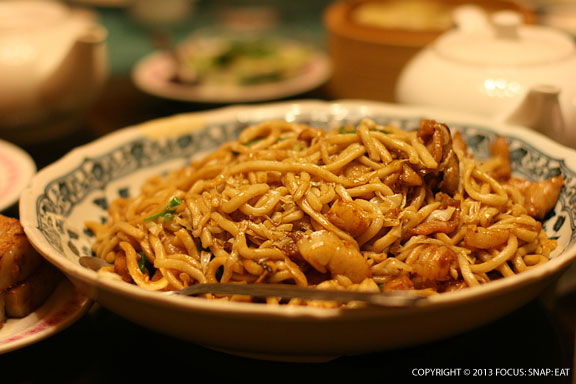 Shanghai fried noodles is a signature dish at Kirin, using a thicker noodle that I compared to worms when I was a kid.