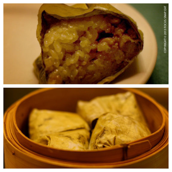 The lo mai gai, or sticky rice chicken in lotus leaves, are presented differently, more like a burrito, which is a bit easier to eat.