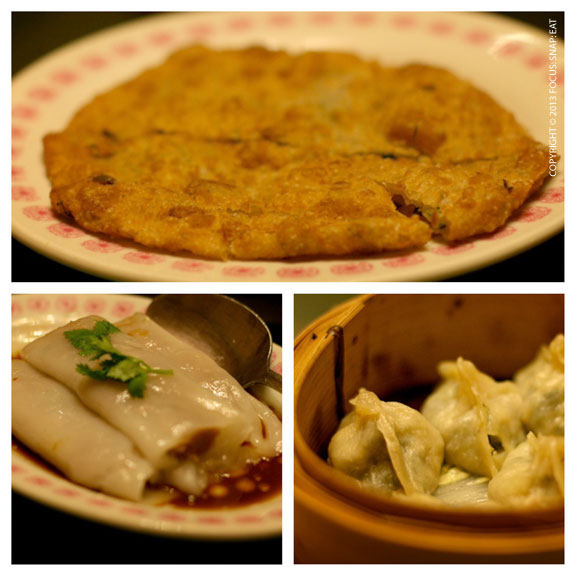 Onion pancakes (top), chives and shrimp dumplings (right), and cheong fun with beef (left)