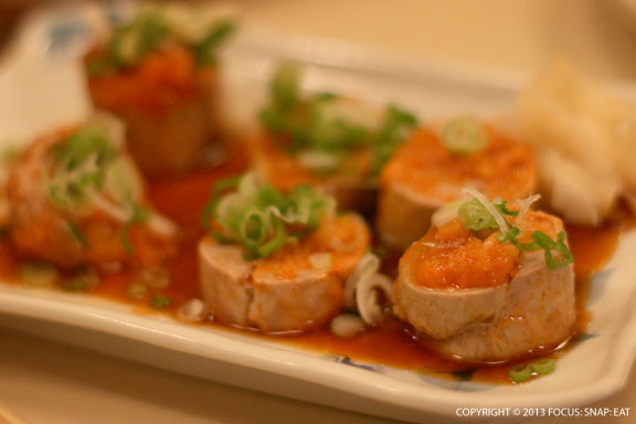 Ankimo or monkfish liver ($10.50) was nicely presented with a special sauce, fish roe and sliced green onions.