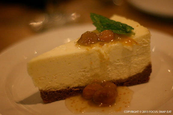 Naked Cow Dairy Fromage Blanc Cheesecake with Big Island Poha berry-Manoa Honey sauce ($8)