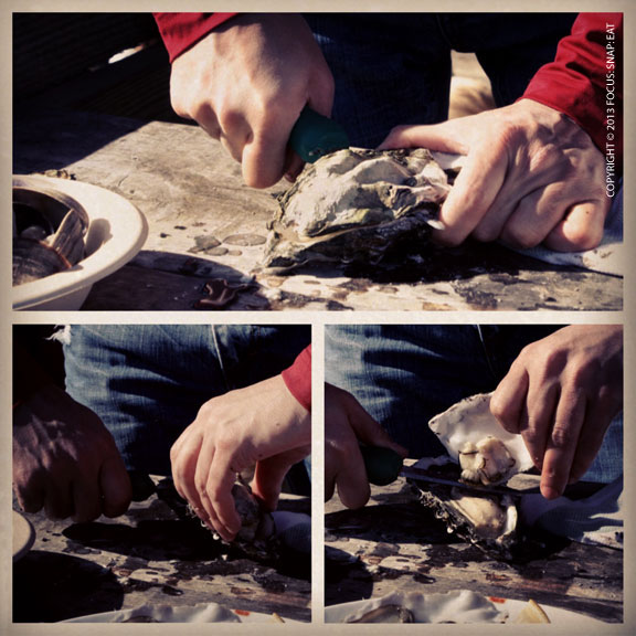 My friends did all the shucking of the oysters. I tried a couple and failed to find the opening both times.