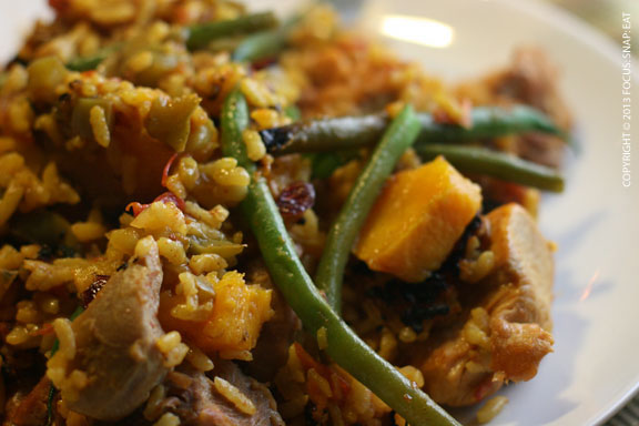 The turkey paella, all mixed up on my plate