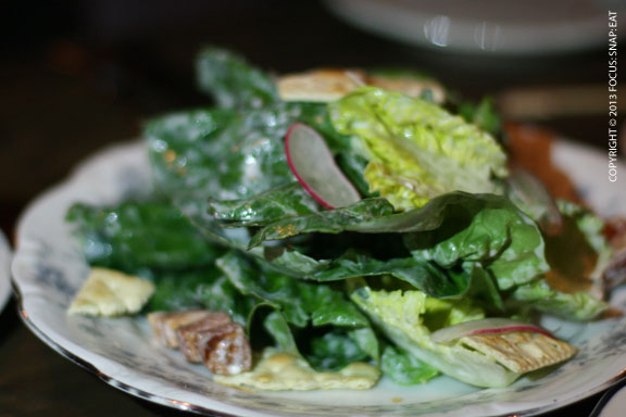 One of the few green dishes, Gem lettuces, blue cheese, lardoons, saltine crackers, $11