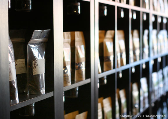 The tea selection at Dragonfly Tea Co.