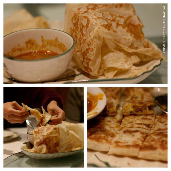 Starting off dinner with Malaysian favorite roti, both on its own with curry dipping sauce and filled with beef or eggs.