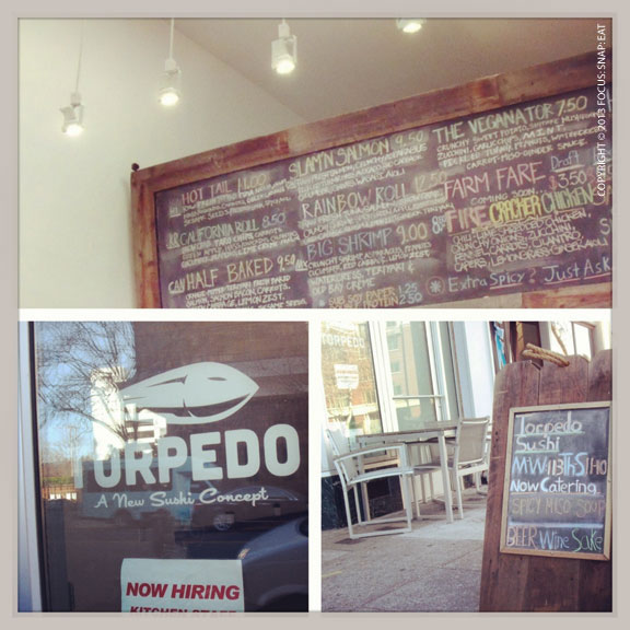 Torpedo Sushi is a tiny spot with just a few bar seating and a limited menu of gourmet sushi rolls.
