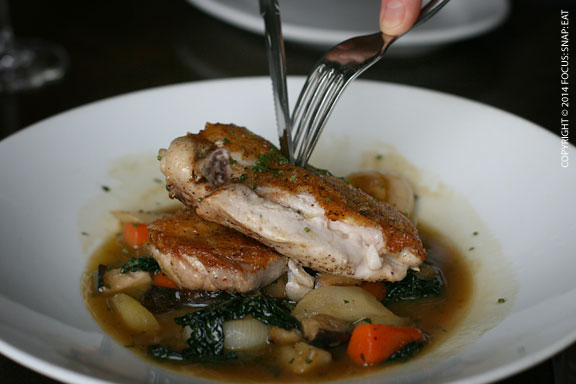Half roasted chicken, salsify, kale, shiitake, brown butter jus, $24