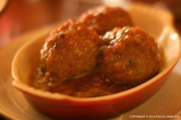Special menu item: meatballs in tomato sauce. The tomato sauce had a distinctive herbal flavor.