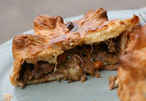 A closer look of the lamb meat pie's tender filling