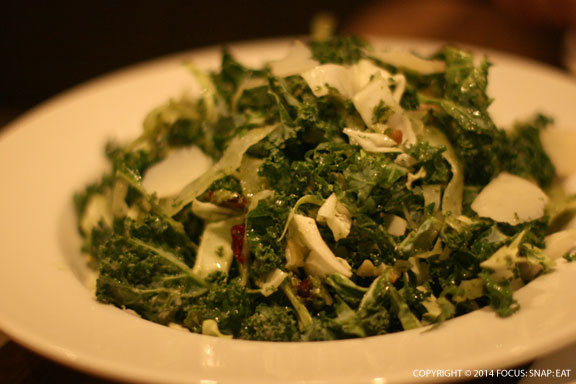 Santa Barbara Kale Salad ($8.95) of farmer's market kale made simply with roasted garlic and toasted walnuts with a light lemon vinaigrette.