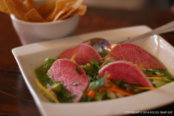 Special ceviche with watermelon radish and tortilla chips