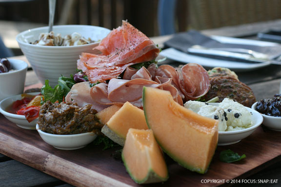 Lunch included this platter of charcuterie, spreads, fruits, and bread to munch on