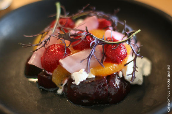 Beautiful beet salad, house-made curd and orange, AUS$14 or $12.95