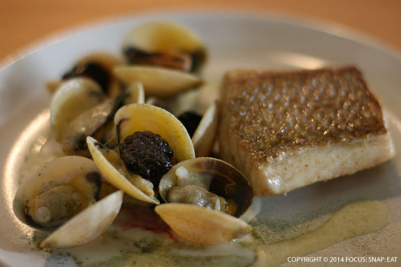 Gold hand snapper with pickled mussels, pippies and elderflower, AUS$33 or $30.55