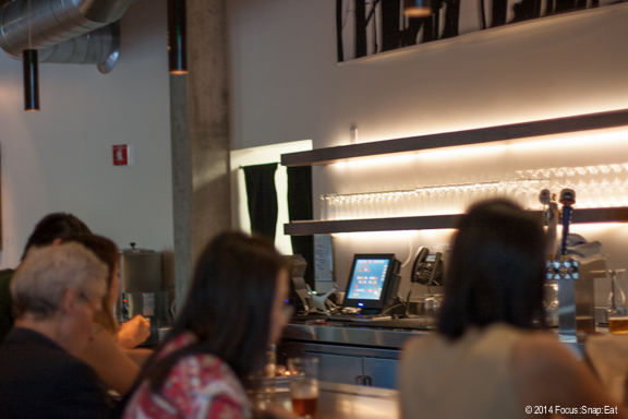 The contemporary bar at the front