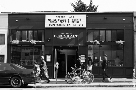 The Second Act is in the old Red Vic Theater space, and along with the marketplace, special events are held in the old theater area.