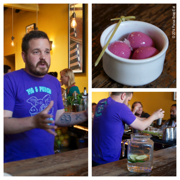 Bar Manager Ethan Terry updated us on the bar's expansion. He also served some delicious pickled quail eggs (the color comes from beets)