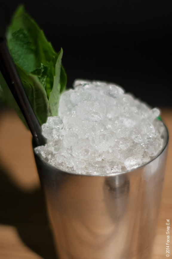Christine tried the Samunprai Julep made with whisky. It comes to the table with a pile of crushed ice of top. $12