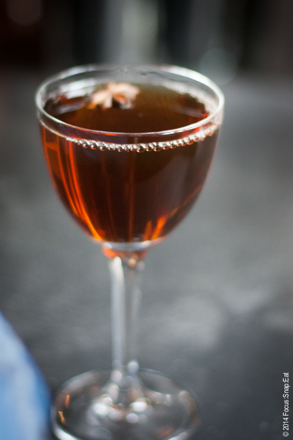 The Aries, made of Pierde Almas mezcal,rum, black tea bitters, and a whole bunch of other stuff.