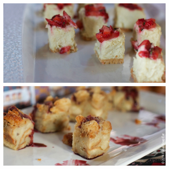 More sweets: cheesecake on top and bread pudding on bottom.