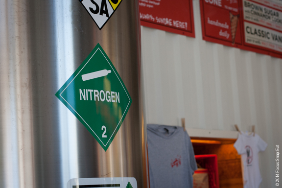 When you walk in, the first thing you see is the 10 feet tall, 2,000-liter liquid nitrogen tank.