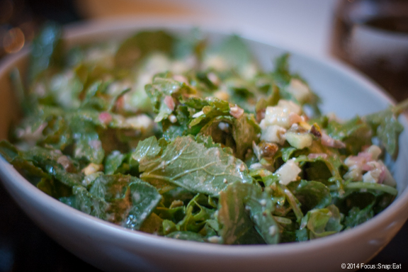 Baby kale salad with feta and roasted pistachios. When picked young, kale is almost like arugula in look and texture. ($10)