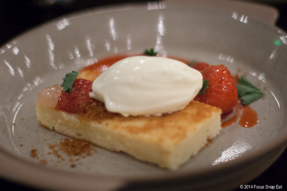 Pound cake with strawberries and creme fraiche ice cream ($8) was a filling and airy end to dinner.