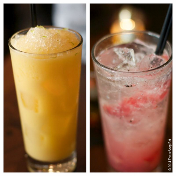 Non-alcoholic offerings include Orange Colada (left), and Pluot Spritz (right), both $6 each.